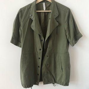 Mural military inspired short sleeved jacket